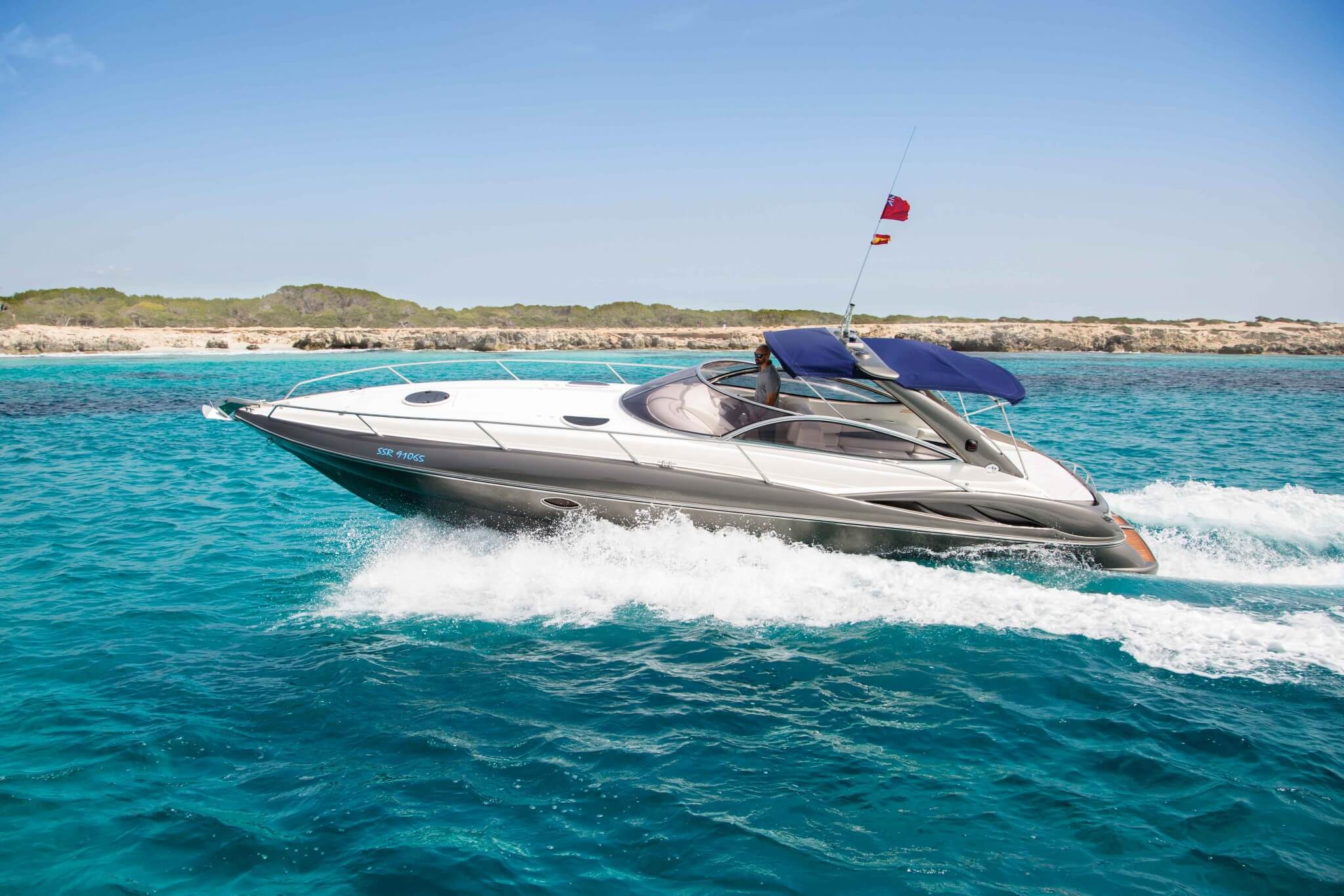 The Sunseeker Superhawk 34 cruising in Ibiza
