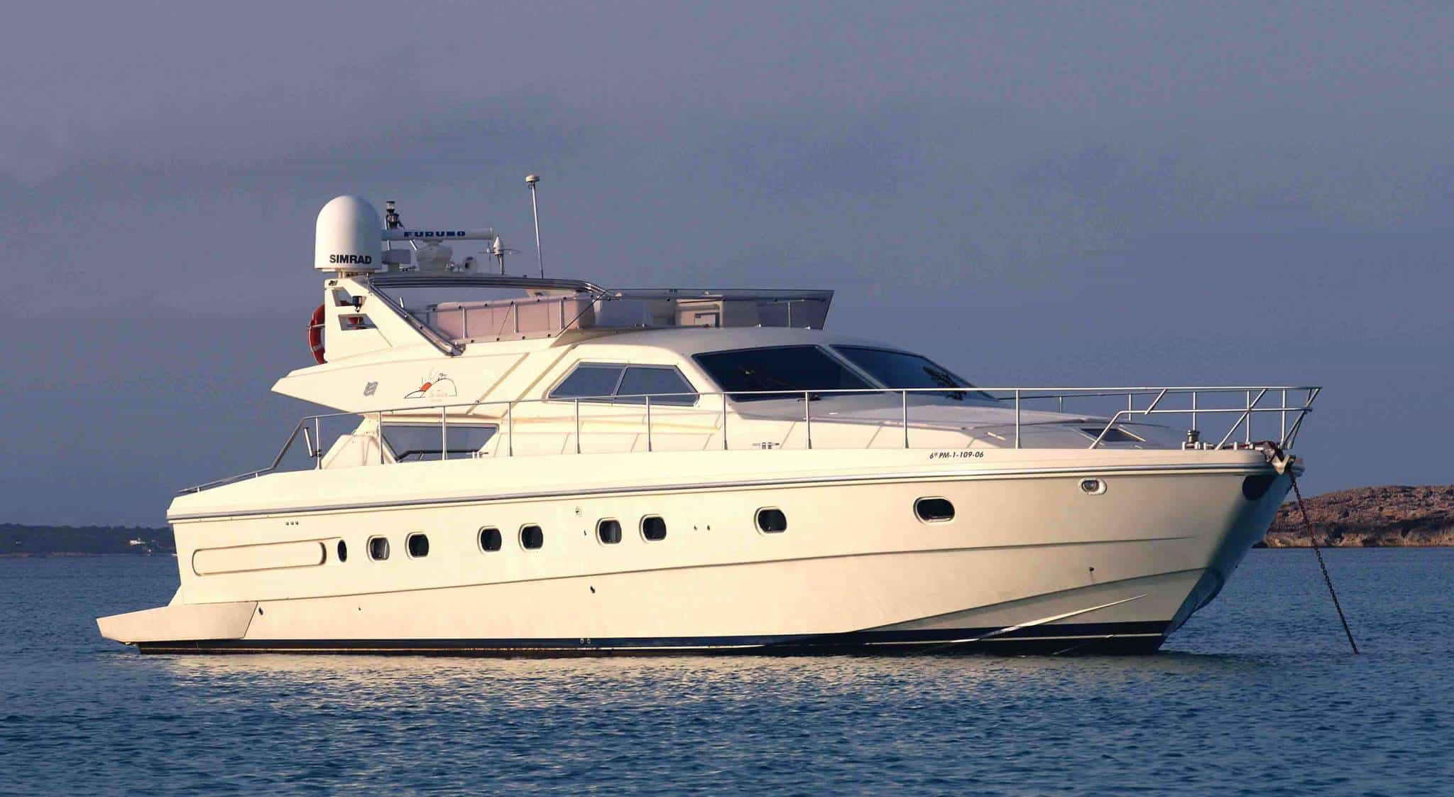 Ferretti 53 Ibiza anchored
